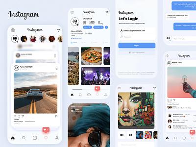 Instagram UI/UX Redesign trendy app design minimal application app soft clean ux ui mobile design mobile design redesign instagram