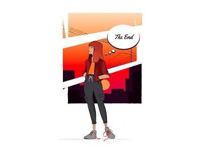 A Summer Evening - Girl İllustration sunset girl draw mascot vector cartoon drawing art design character illustration