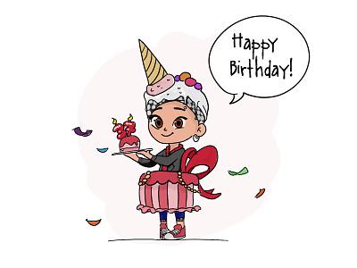 Mom Character Design - Happy Birthday vector logo cartoon drawing art illustration character design
