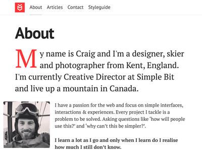 About typography profile landing page drop cap freelance personal pt sans pt serif clean ui type simple