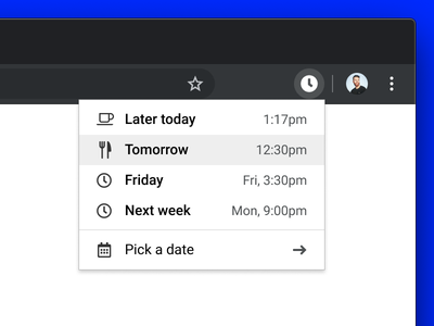 Snooze Tab concept calendar snooze ui chrome extension chrome