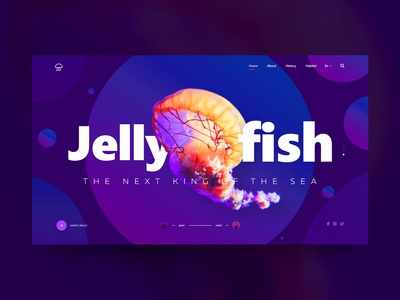 Jellyfish landing page jellyfish animal webdesign ux gradient ui web design