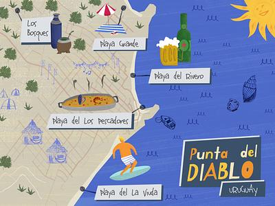 Punta del Diablo Map surf vacaciones vacations verano summer verão praia playa beach map mapa punta punta del diablo uruguay