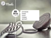 Meals app - Share screen