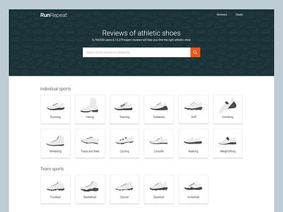 RunRepeat homepage minimalist icons doodle ux design ui design website design homepage