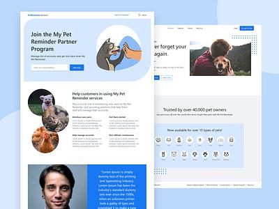 My Pet Reminders Partners Program pets minimal webdesign website ux ui