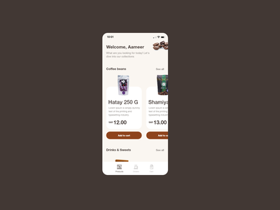 Coffee store app beans daily ui design ux ui coffee