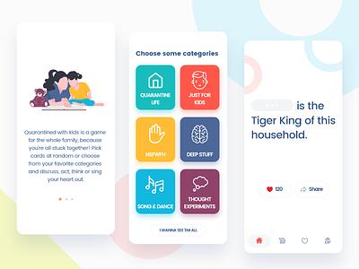 Pick card game ux iphone ui app-design game ui words categories colors flat ios card game