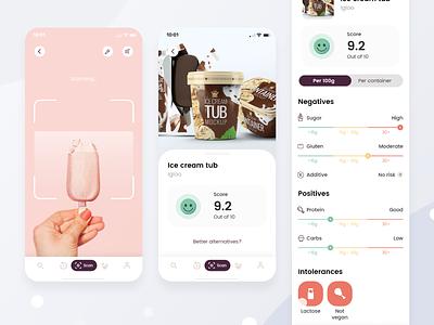 Food advisory app uiux ui daily ui score scanner food app ui food app flat dailyuichallenge dailyui app design