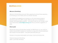 Burnalong welcome email design