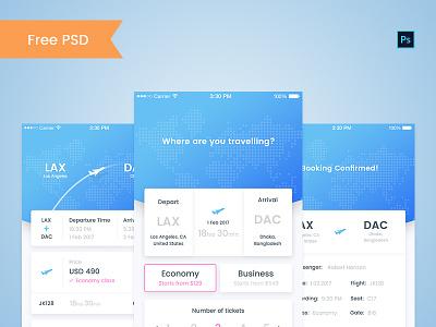 Flight booking app free PSD psd free plane booking flight ticket eticket ios ui ux app