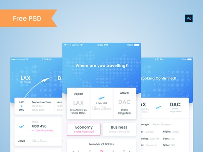 Flight booking app free PSD