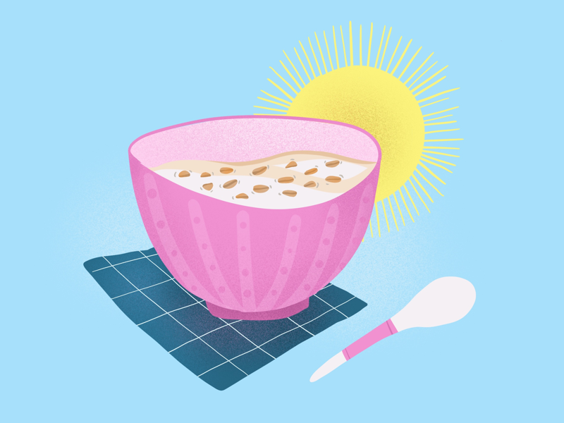 My Breakfast Routine sunny morning healthy food oat meal oat milk illustration food illustration food editorial digital painting breakfast