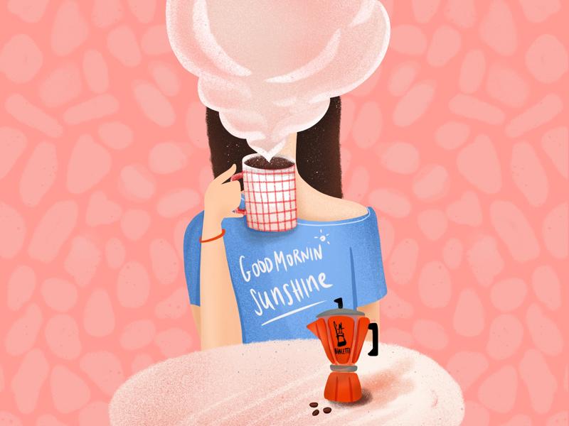 Good Morning Sunshine morning bialetti espresso coffee girl character design character editorial illustration