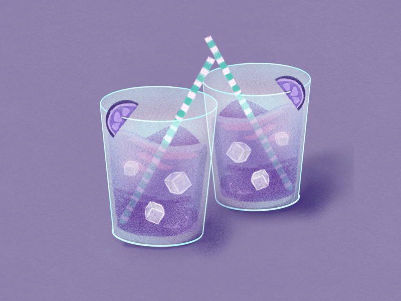 Weekend Vibes party purple cocktail drink digital painting food illustration food editorial illustration