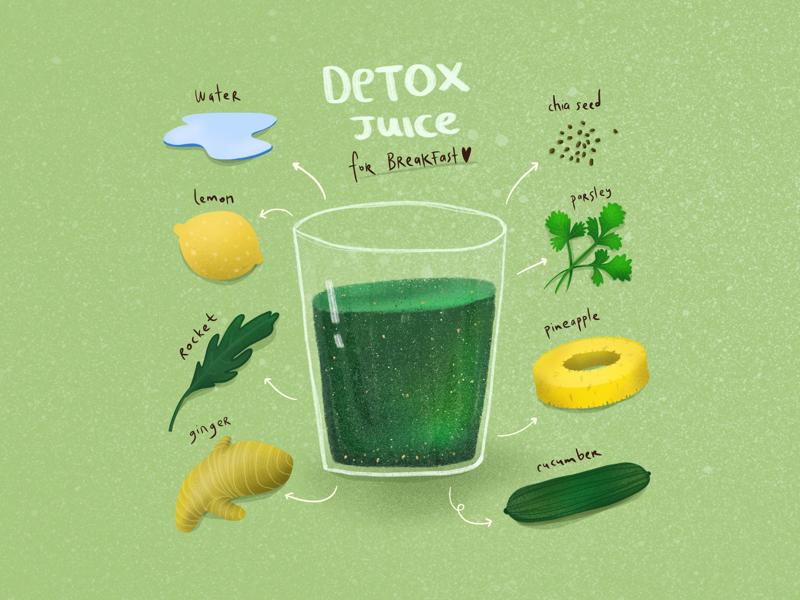 Hulk Tea vegan diet healthy food healthy green juice detox juice detox drink digital painting food illustration food editorial illustration