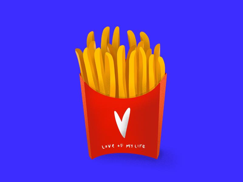 Love of My Life french fries digital painting takeaway mcdonalds blue love fast food fries tasty illustrator graphic food illustration food editorial illustration