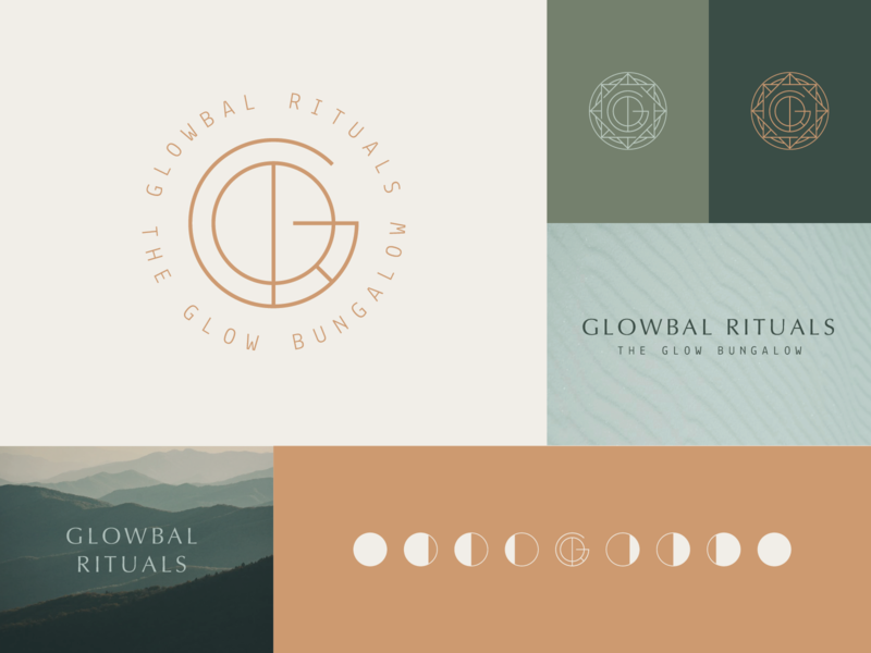 Glowbal Rituals Additional Marks skincare moon moon phases thin lines sacredgeometry compass glow monogram logo marks branding