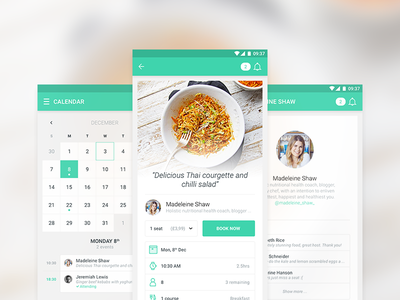 Dinner Club App booking profile calendar friends food android app android app user interface ui