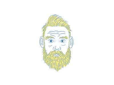 Guy in yellow and blue portrait face beard illustration