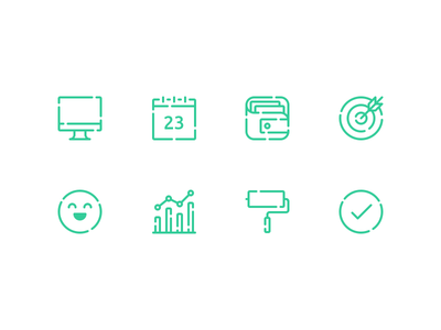 Recruitment Icons approved custom stats reporting happy customer target wallet calendar desktop glyphs icons