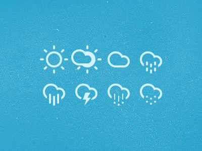 Weather Icons icon icons pictograph weather sun cloud drizzle rain lightning hail snow