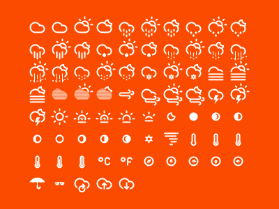 Climacons icon set free icons weather icons icon pack icon kit icon icons pictograph cloud drizzle rain hail snow fog wind lightning sun sunrise sunset moon phases tornado temperature direction
