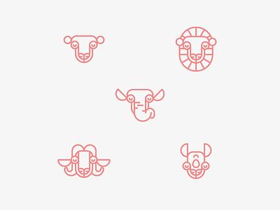 The Big Five icon icons leopard lion elephant buffalo black rhino game africa