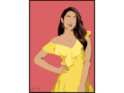 Vector portrait of an Indian actress wall poster