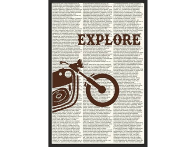 Bike inspired poster saying EXPLORE with definition of happiness