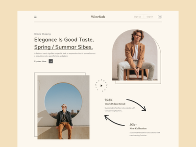 Fashion E-commerce Landing Page user interface fashion fashion app fashion brand winefash landing page online store onboarding ui ecommerce web design website concept logo design ui minimal uidesign