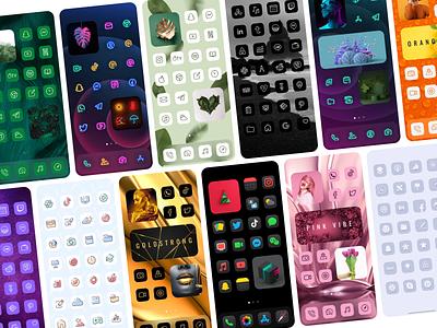 iOS 14 Themes - Home Screen App Icons for iPhone icon mockup ios screenshot dark mode ios ui illustration app design logo icon app themes icon themer icon packs icon changer home screen ios app design launcher ios 14