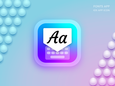 Fonts App iOS App Icon Design aesthetic app vector ux illustration mockup branding logo design ios screenshot games ui ios icon ios app design app design
