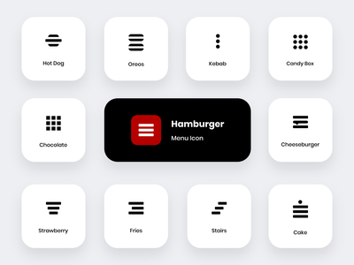 """There are other delicious foods rather than the """"Hamburger"""" icon burger logo hamburg ios app design logo icon dashboard design menu icon menu design hamburger icon hamburger menu hamburger"""