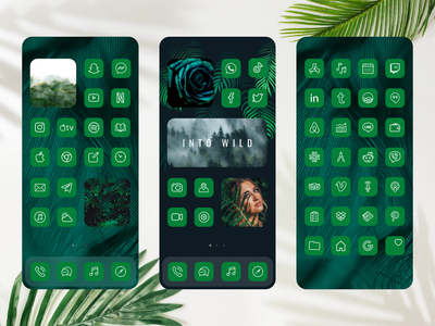 iOS 14 Nature Green Theme for iPhone Home Screen launcher icons set icons design iconset icon pack icon set ios 14 themes widhgetsmith widgets logo ios screenshot ios app design illustration design games ui icon app design