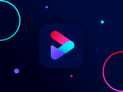 Play icon design for iOS App   Logo for Mobile App interface vector simple modern monogram minimal iconography illustration graphic dark daily ui color brand design logo design adobe illustrator 3d abstract branding ios logo