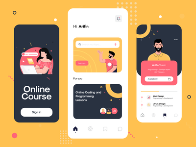 Online Course Vibrant UI App Design & Illustrations illustrator graphic flat drawing ux dailyui uiux app ui creative vivid colorful clean character yellow artwork concept app design artist art 2d