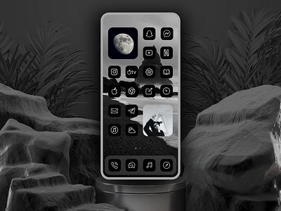 Dark Mode iOS 14 Aesthetic Theme & Launcher ios app design mockup vector illustration illustrator logodesign best shot themes launcher icon icons minimalist black dailyui aestheticism icon logo minimal dark mode