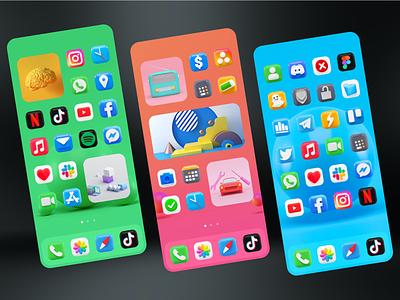 iOS 14 Theme with 3D Minimal App Icons & Logos moment aha icon themer wow daily shot daily ui 3d design aesthetic launcher themes ios app design app vector design ux mockup logo ui branding illustration