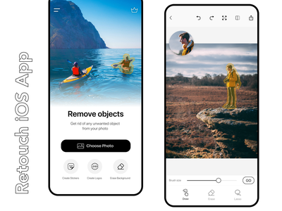 Retouch iOS App redesign Concept for App Store ui minimalist zoom light mode white cleanest rebound app design game design daily challenge daily 100 draw clean ui design clean ui minimalist design draw app editing app photo editor minimalistic minimalism