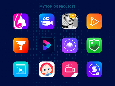 All My Featured App Icon Design & Logo Creation editing app product design icons icon set logos logodesign colorful beautiful web ios games ux logo color pop video editor beauty branding vector icon illustration