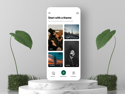 Slideshow App Design UI UX for iPhone romantic leaves floating mockup ios minimalistic natural black and white ui design menu icon navigation landingpage home screen minimalism light mode minimalist green nature minimal app design