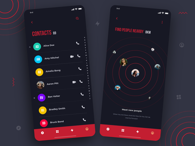 Contacts and Find People Nearby UI Concept user interface contact best shot black and red concept art color daily ui creative concept clean design typography design minimal dailyui ux dark mode ui ios app design app design illustration
