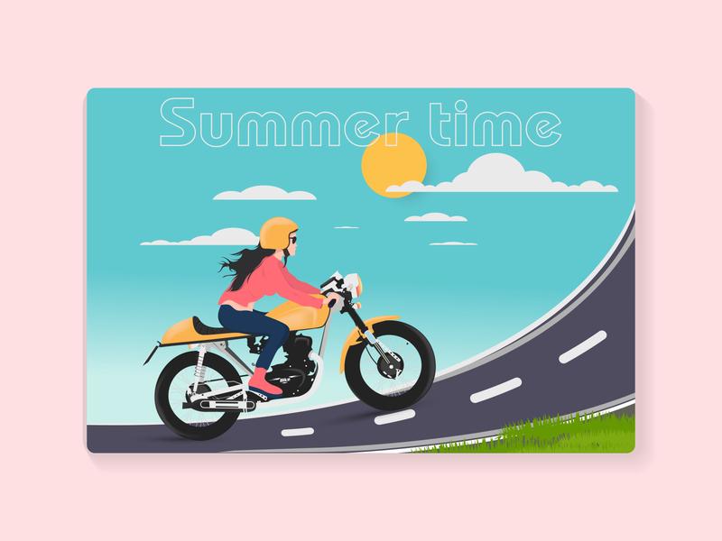 Summer travel by bike concept art template design landing page design vector flatdesign landingpage logo graphic design illustration