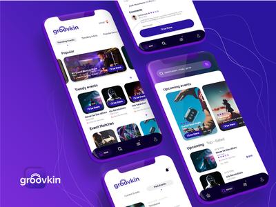 Groovkin - Music events app UXUI Mobile Design
