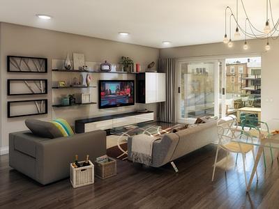 Living Room 3D Rendering cg realistic 3d 3d render renders 3d artist 3d art renderhub qdesign3d 3d visualization architectural arch viz exterior interior interior design 3d rendering