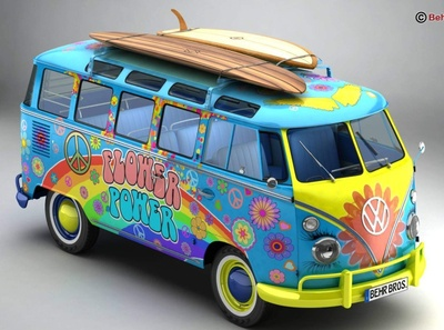 1963 Volkswagen T1 Samba Hippie Version 3D Model 3d model 60s old classic historic bulli bus power flower hippie 1963 samba t1 transporter type2 vw volkswagen