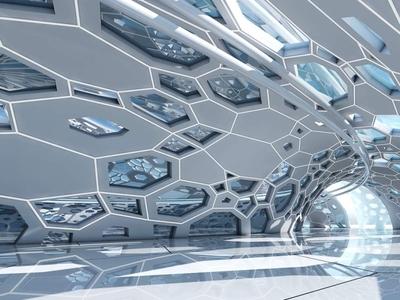 Futuristic Architectural Dome Interior 3D Model