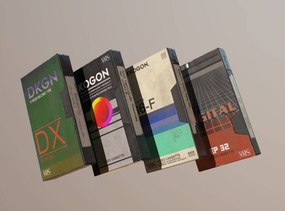 VHS Tapes with Sleeves 3D Model