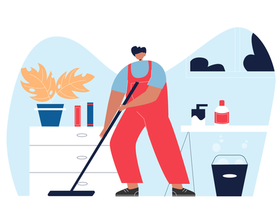 cleaning background 2d character illustraion people cleaning company cleaning vector flat illustration